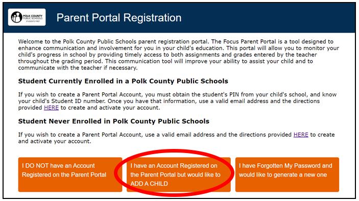 Parent Portal screenshot depicting the location of the Add a Child button