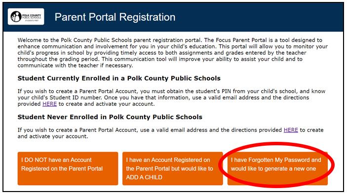 Parent portal screen shot depicting the location of the password reset button.