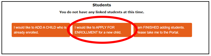 Parent Portal screen shot depicted location of apply for enrollment button