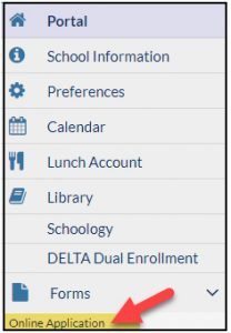 Parent Portal menu depicting location of the Online Application button