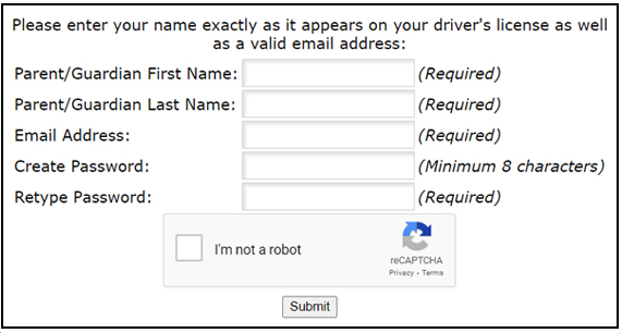 A screenshot of the Parent Portal registration form. Please enter your name exactly as it appears on your driver license as well as a valid email address.