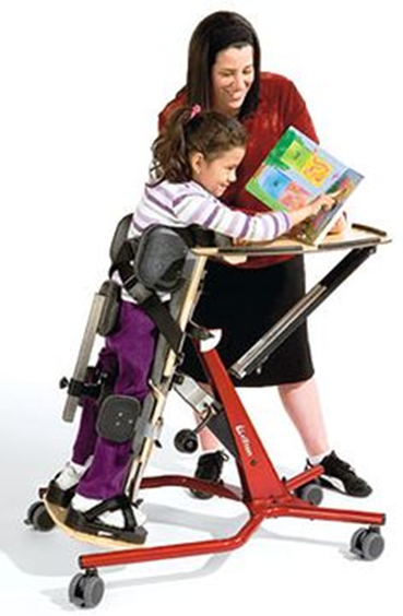 Teacher helping a student with Physical Therapy while reading a book