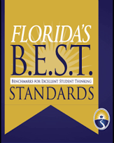 Florida's B.E.S.T Standards Graphic displaying Benchmarks for Excellent Student Thinking text