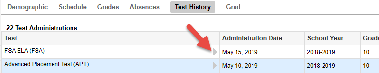 Screenshot depicting Parent Portal test history tab with arrow pointing to grey triangle