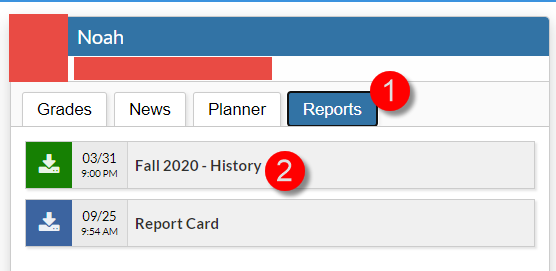 Screenshot depicting the reports tab selected with a number 1 and a test option with the number 2