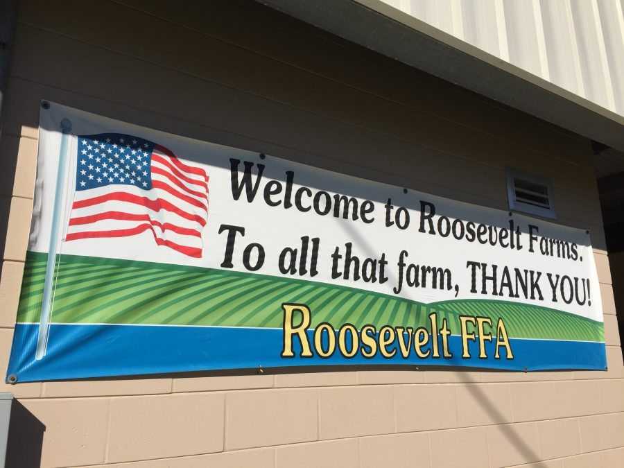 The Roosevelt Farms sign at Roosevelt Academy.