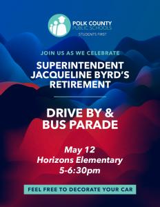 May 12 retirement celebration flyer