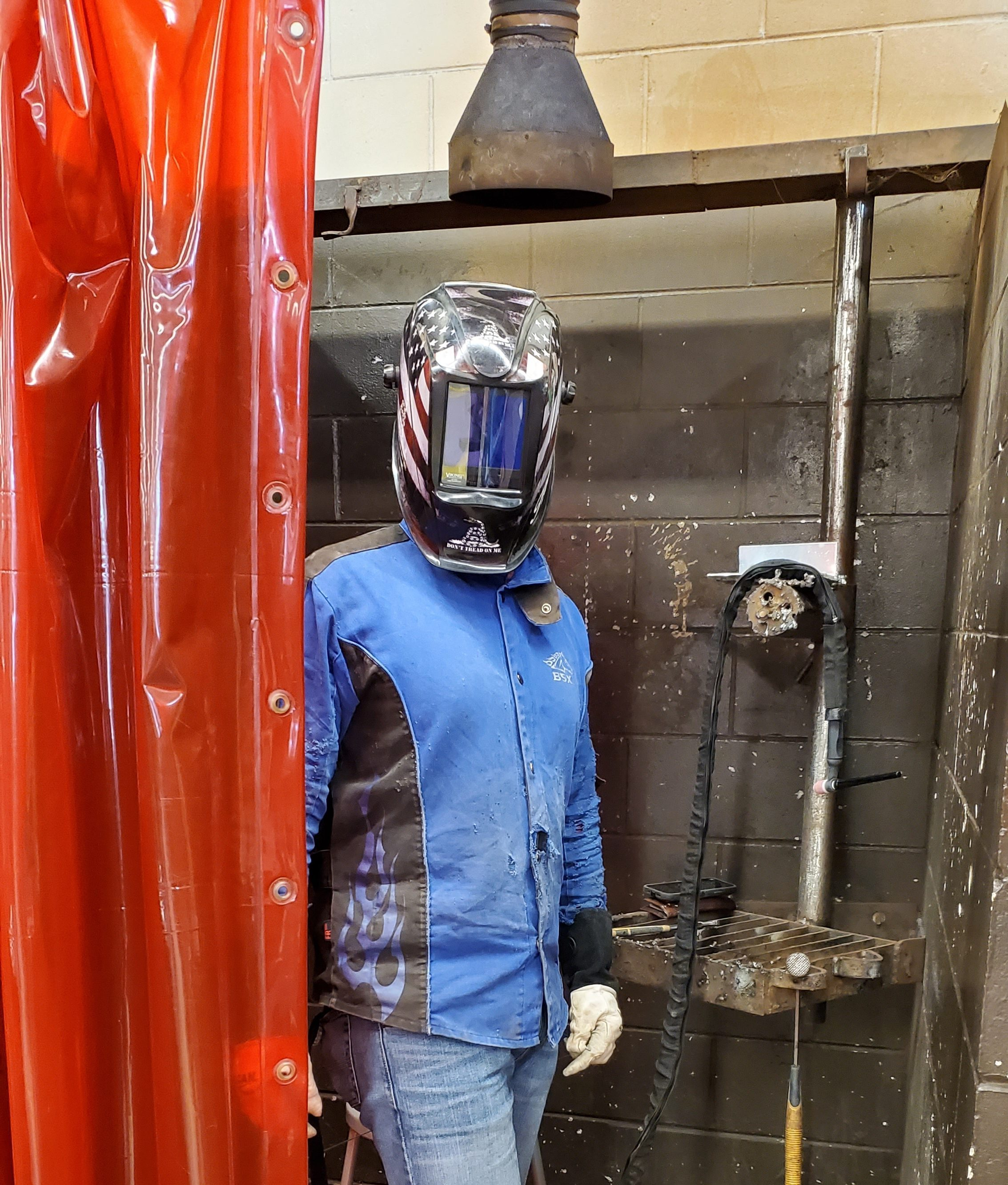 A student in the welding program at Ridge Technical College