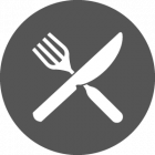 Fork and Knife inside grey icon