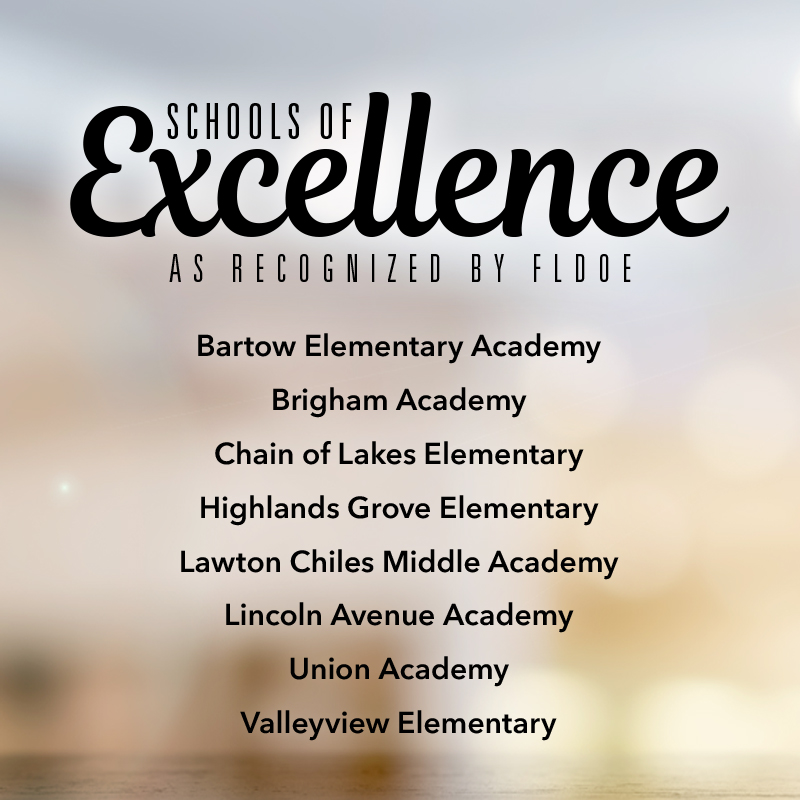 "A list of Polk County's ""Schools of Excellence."""