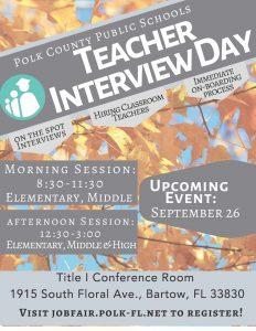 Sept. 26 Teacher Interview Day flyer