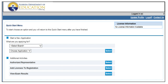 Screenshot of DOE website login process