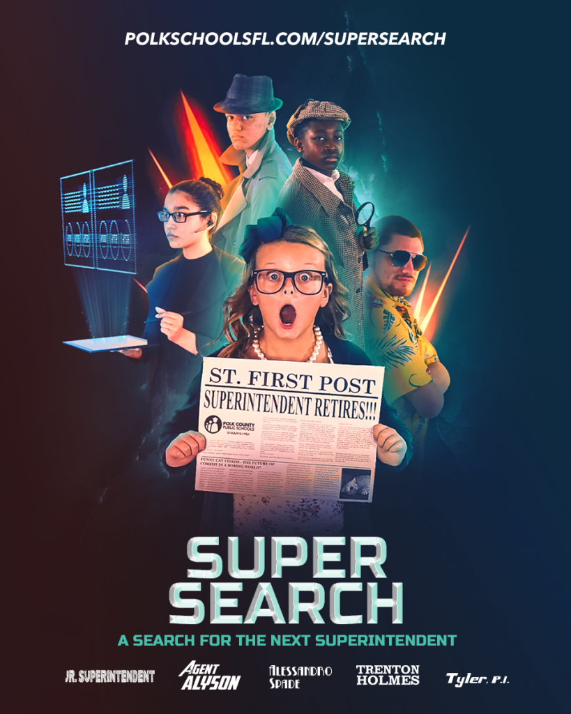 Movie-style poster of the PCPS superintendent search process