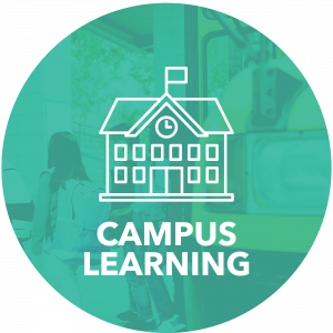 Campus learning title and schoolhouse icon
