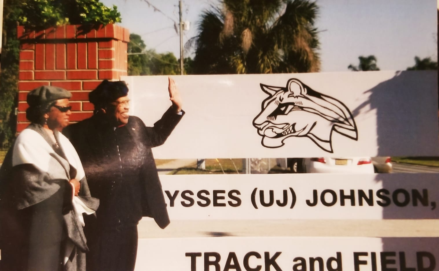 A photo of Ulysses Johnson near the track and field that bears his name