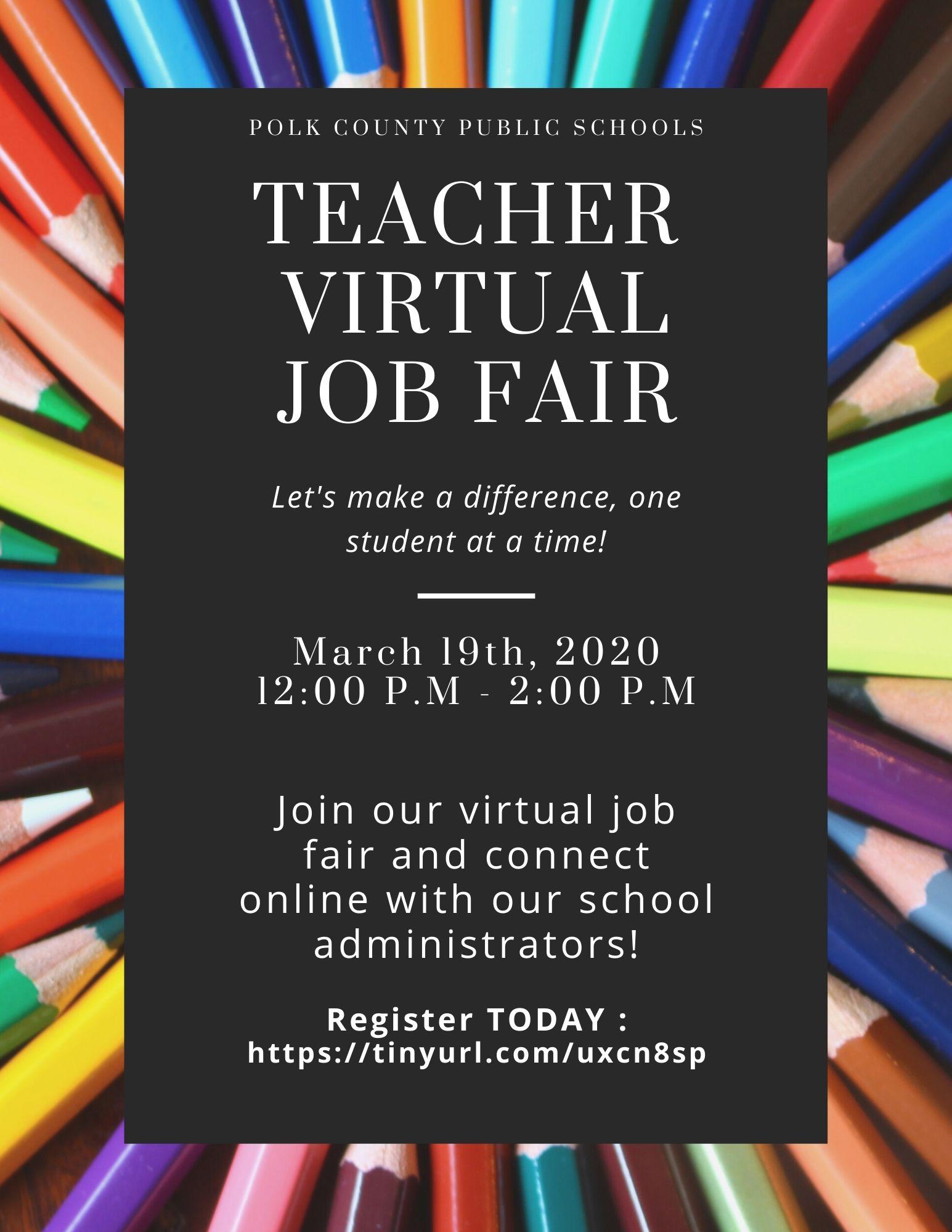 March 19 online job fair flyer