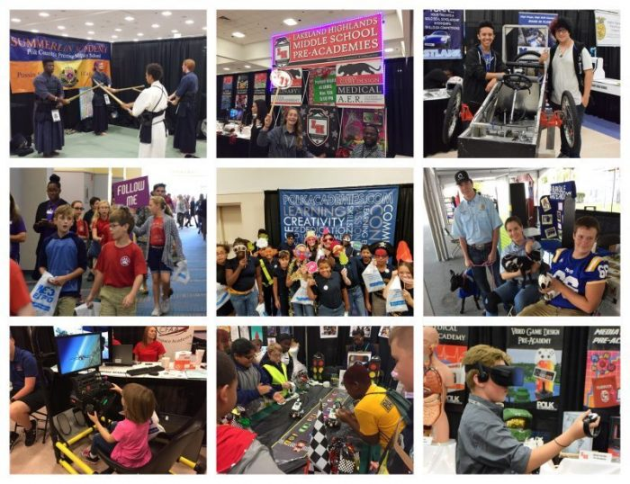 Photo collage showing WE3 Expo activities.