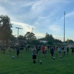 Winter Haven High band practicing outdoors