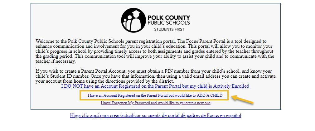A screenshot on how to add a child on PCPS's parent portal.