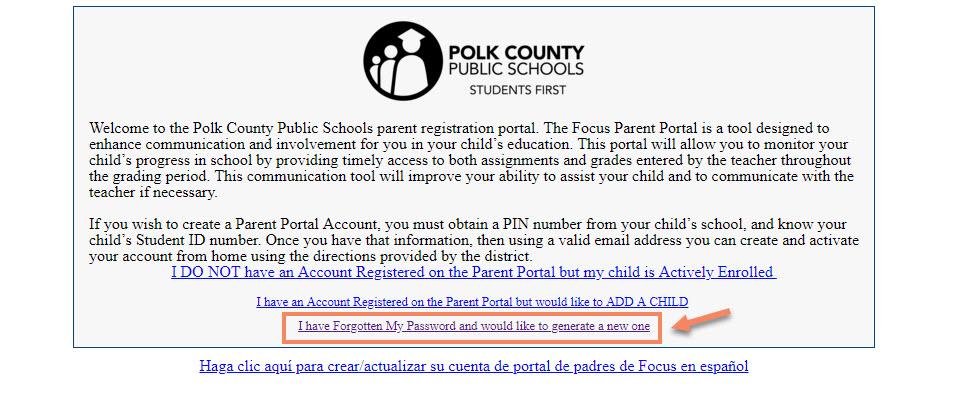 A screenshot of Polk County Public Schools Parent Portal password reset link.