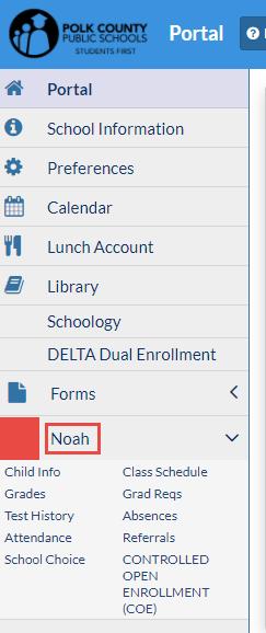 Screenshot depicting Parent Portal menu with student name